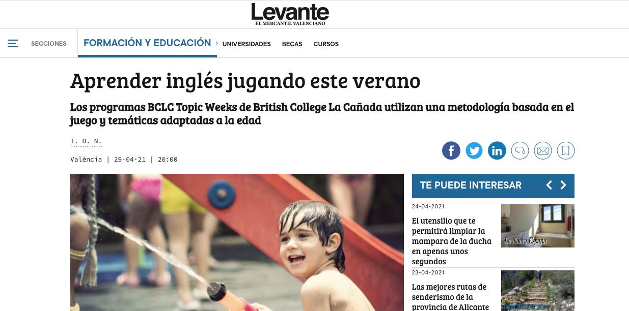 Publicación en El Levante